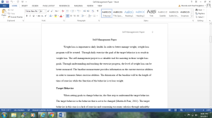 Self-Management Project | Documents and Forms | Research Papers