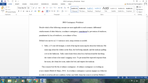 DRO Contingency Worksheet   Documents and Forms   Research Papers