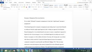 emergency management discussion question