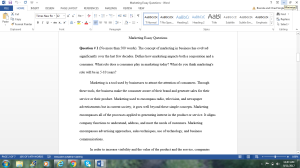 Marketing Essay Questions | Documents and Forms | Research Papers