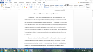 Efficacy and Effectiveness of Psychological Treatments   Documents and Forms   Research Papers