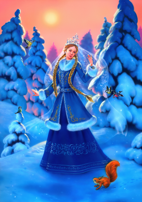 First Additional product image for - Snow Maiden, Painted Traditional Illustration for Christmas and HNY Greeting Cards