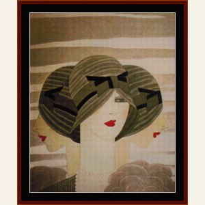 women in green hats - vintage poster cross stitch pattern by cross stitch collectibles