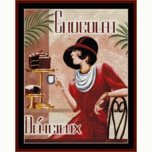 chocolat delicieux - vintage poster cross stitch pattern by cross stitch collectibles