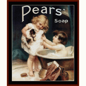pears soap - vintage poster cross stitch pattern by cross stitch collectibles