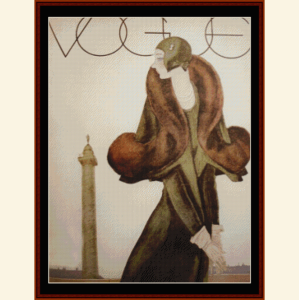 vogue - vintage poster cross stitch pattern by cross stitch collectibles