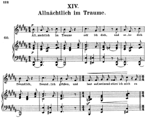 allnächtlich im traume, op 48 no.14, high voice in b major, r. schumann (dichterliebe), c.f. peters (friedl.)