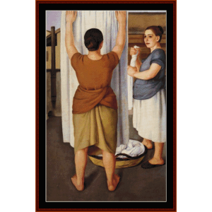laundresses - antonio donghi cross stitch pattern by cross stitch collectibles