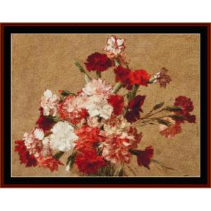 carnations - fantin-latour cross stitch pattern by cross stitch collectibles
