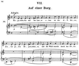 auf einer burg, op.39 no.7, high voice in e minor, r. schumann (liederkreis), c.f. peters