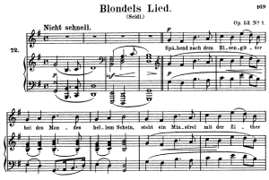 blondels lied, op.53 no.1 high voice in g major, r. schumann, c.f. peters
