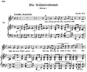 die soldatenbraut, op.64 no.3, high voice in b-flat major, r. schumann, c.f. peters