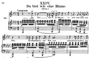 du bist wie eine blume, op.25 no.24, high voice in a-flat major, r. schumann (myrthen), c.f. peters