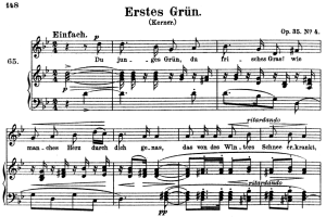 erstes grün op. 35 no.4, high voice in g minor, r. schumann, c.f. peters