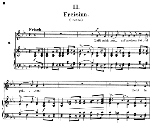 freisinn, op.25 no. 2, high voice in e-flat major, r. schumann (myrthen), c.f. peters