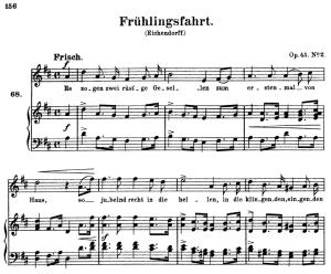 frühlingsfahrt, op.45 no.2, high voice in d major, r. schumann, c.f. peters