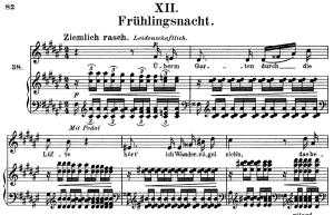 frühlingsnacht, op.39 no.12, high voice in f-sharp major, r. schumann (liederkreis), c.f. peters