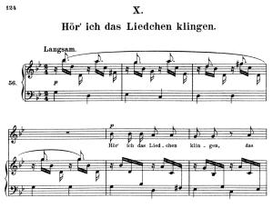 hör' ich das liedchen klingeln, op.48 no.10, high voice in g minor, r. schumann (dichterliebe), c.f. peters