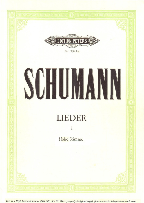 First Additional product image for - Ich wand're nicht, Op.51 No.3, High Voice in in B-Flat Major, R. Schumann, C.F. Peters