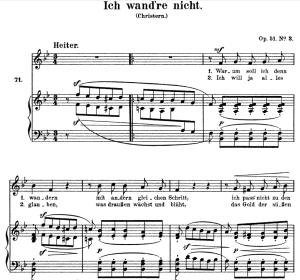 ich wand're nicht, op.51 no.3, high voice in in b-flat major, r. schumann, c.f. peters