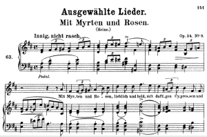 mit myrthen und rosen op.24 no.9 , high voice in d major, r. schumann, c.f. peters