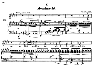 mondnacht op.39 no.5 , high voice in e major, r. schumann (liederkreis), c.f. peters