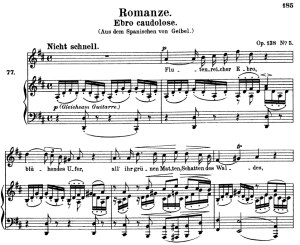 romanze ebro caudolose, op.128 no.5 , high voice in d major, r. schumann, c.f. peters