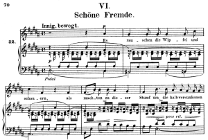schöne fremde, op.39 no.6 , high voice in b major, r. schumann (liederkreis), c.f. peters