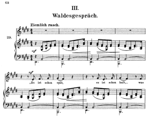 waldesgeschprâch op.39 no.3, high voice in e major, r. schumann (liederkreis), c.f. peters
