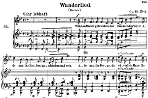 wanderlied op.35 no.3, high voice in b-flat major, r. schumann, c.f. peters