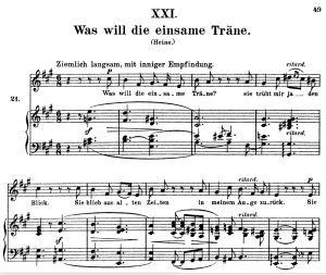 was will die einsame träne op.25 no.21, high voice in a major, r. schumann (myrthen), c.f. peters