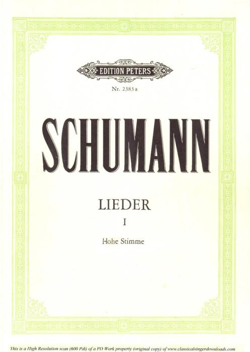First Additional product image for - Zwielicht Op.39 No.10, High Voice in E minor, R. Schumann (liederkreis), C.F. Peters