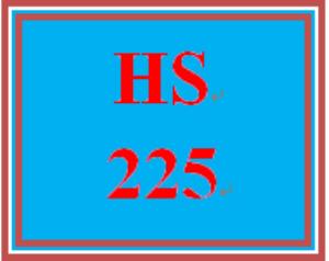 HS 225 Week 3 Student Reflection, Week 3 | eBooks | Education