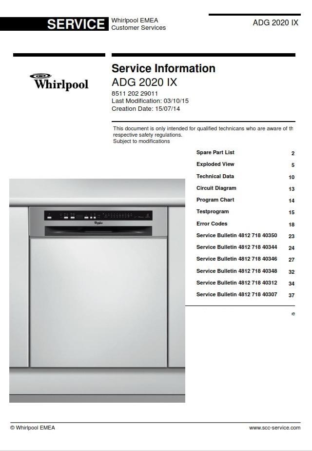 Whirlpool Adg 2020 Ix Dishwasher Service Manual