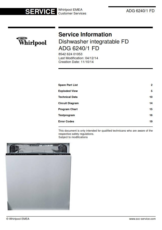 Whirlpool ADG 6240/1 FD Dishwasher Service Manual | eBooks | Technical