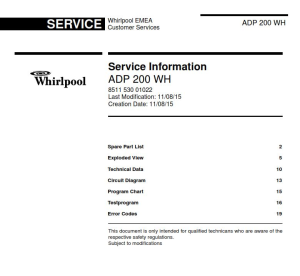 Whirlpool ADP 200 WH Dishwasher Service Manual | eBooks | Technical