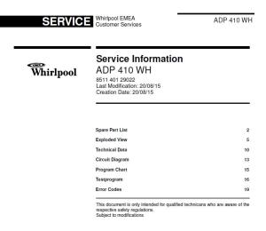 whirlpool adp 410 wh dishwasher service manual