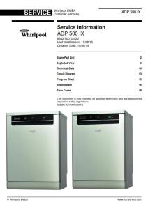 Whirlpool ADP 500 IX Dishwasher Service Manual   eBooks   Technical
