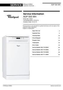 Whirlpool ADP 500 WH Dishwasher Service Manual | eBooks | Technical