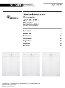 whirlpool adp 5310 wh dishwasher service manual