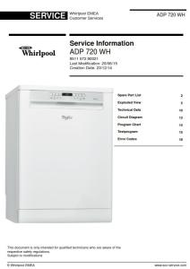 Whirlpool ADP 720 WH Dishwasher Service Manual | eBooks | Technical