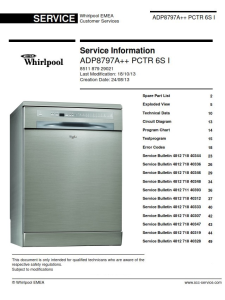 Whirlpool ADP 8797 A++ PC 6S I Dishwasher Service Manual | eBooks | Technical