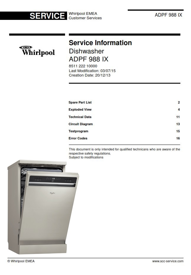 Whirlpool ADPF 988 IX Dishwasher Service Manual | eBooks | Technical