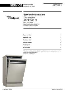 whirlpool adpf 988 ix dishwasher service manual