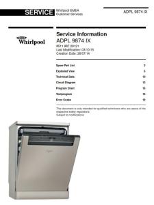 whirlpool adpl 9874 ix dishwasher service manual