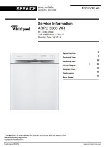 Whirlpool ADPU 5300 WH Dishwasher Service Manual | eBooks | Technical