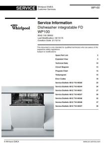 whirlpool wp100 dishwasher service manual