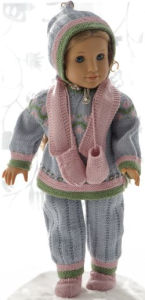 dollknittingpattern 0180d karitas  - sweater, pants, short sleeved sweater, bonnet, socks, scarf and mittens-(english)