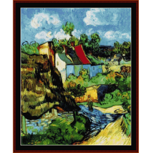house at auvers - van gogh cross stitch pattern by cross stitch collectibles
