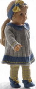 dollknittingpatterns 0181d pernille - robe, leggings, chaussures et tour de tête-(francais)